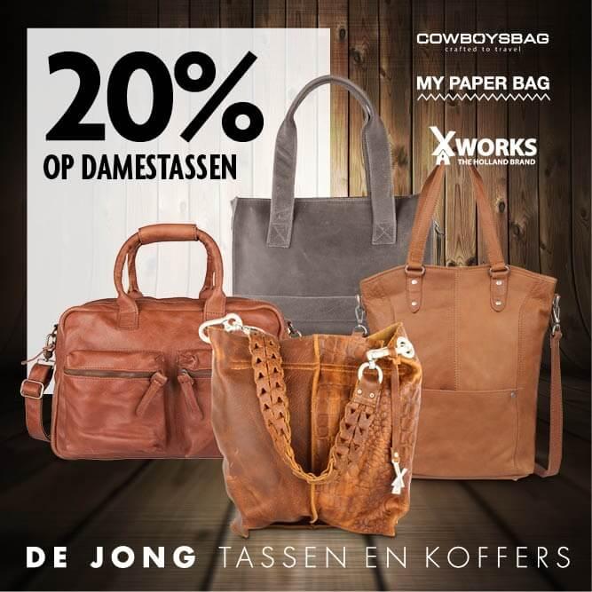 20% korting op alle damestassen